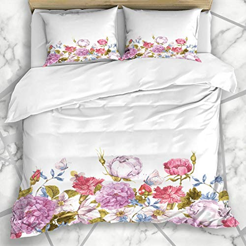 Bettbezug-Sets Flora Flower Floral Aquarell Border Rosen Schmetterling Rose Natur Vintage Garden Sommer Kranz Frühling Mikrofaser Bettwäsche mit 2 Pillow Shams -
