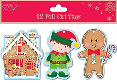 Christmas Luxury Gift Tags 12 Pack Kids Present Xmas Wrap Gingerbread Childrens