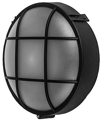 Bulkhead-licht (Wand Montiert Lampe Aussen Runde Bulkhead E27 Licht IP44 Schwarz)