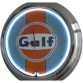 Amazonde Neon Uhr Gulf Racing Wanduhr Deko Uhr Leuchtuhr Usa 50s