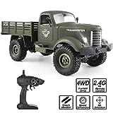 ROOYA BABY RC Militär LKW, Ferngesteuertes Truck mit Akku und Licht, 2.4Ghz 1/16 4WD Militärfahrzeug mit Fernbedienung als Geschenke für Kinder Jungs Erwachsene Militärfan