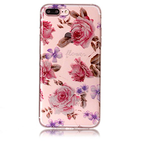 iphone 7 Plus Hülle,E-Lush TPU Dünn Silikon Hülle [Kristallklar Durchsichtig],Giant Panda Muster Crystal Stoßdämpfend Transparent Silikon Schutz Handy Hülle CaseClear Klar Hanytasche für iphone 7 Plus rosa Rosen