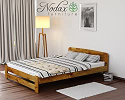 New Solid Wooden Pine Bed Frame with plywood slats