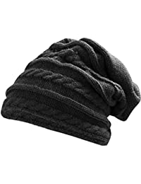 TRIXES Black Winter Baggy Beanie Knit Détail Chapeau surdimensionné en style Slouch