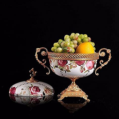 Upper-The high-end luxury large fruit fruit bowl ceramic ornaments with copper inlaid copper water compote decorative