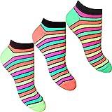 Ladies & Girls Neon Rainbow Stripes Trainer Socks Liners with Black Trim (3 Pair Multi Pack)