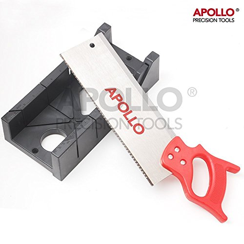 """Apollo 2-in-1 Mitre Saw Set with Rigid 12"""" Mitre Saw & Metric Mitre Box for Left/ Right 45-degree & 90-degree Cuts for Skirting Boards, Room Trim, Casing and Joints Mitre Box Set Test"""