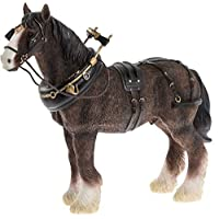Leonardo Shire Horse With Harness Ornament, Length 18cm