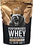 nu3 - Whey Protéines Performance 1kg - Noisette - 74% de Protéines - Destinée à la Prise de Masse Musculaire - Excellente Solubilité et Délicieuse Saveur Noisette