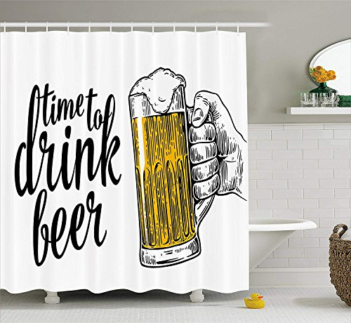 er Curtain, Time to Drink Beer Quote with Man Hand Holding The Mug Toast Illustration, Fabric Bathroom Decor Set with Hooks, 66x72 inches, Yellow Black ()