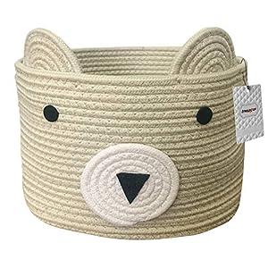 Inwagui Baumwolle Seil Korb Baby Aufbewahrungskörbe Bär Wäschekorb Faltbare Kinder Aufbewahrungsbox für Spielzeug…