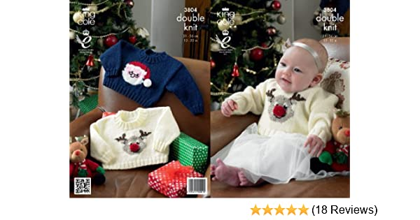Christmas Knitting Patterns For Babies.King Cole Baby Christmas Sweaters Comfort Dk Knitting