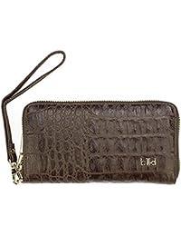 Damen Tasche Clutch von IKKI in Echtleder Größe 23 x12 cm in Kroko style Farbe black grey Ikki Fashion