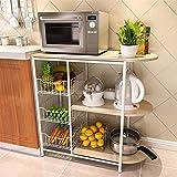 SunnyGod Kapazitätsspeicherregale Küchenregal Mikrowelle Regallagerregale Unterschrank Regal Lagerregal Geschirrkorb Multifunktionsgeräte (Farbe : Black)