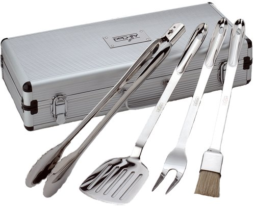 All-Clad T147 Stainless Steel Tongs Spatula Fork and Brush BBQ Tools Cookware Set, 4-piece, Silver by All-Clad (Amazon Clad All)