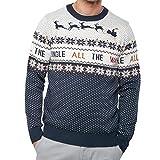 Threadbare Weihnachts Pullover LED Beleuchtung klimpern Weihnachten Neuheit  Strickpullover Unisex dunkelmarineblau - Klingelnd - Blau Creme, L 73325ce289