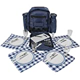 Inspirion - Mochila de picnic con 4 servicios,con refrigeración, color azul
