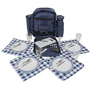 Inspirion Sac à dos de pique-nique avec vaisselle et compartiment isotherme pour 4 personnes