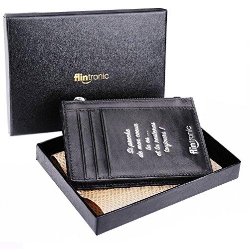 flintronic Portefeuille En Cuir, Etui RFID Blocage Porte Carte de Crédit, Zip Porte-monnaie (# 9 Noir avec Zip Impression)