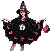 K-youth Disfraz Bruja de Halloween para Niñas Capa de Bruja Princesa Traje para Halloween Carnaval Parte Actuación Fiesta Cosplay Niña Halloween y Sombrero Bruja + Bolsa de Calabaza