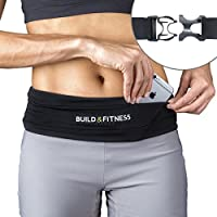 Build & Fitness Running Belt Waist Adjustable, Comfortable Slim with Key Clip - Fits fuel gel, iPhone 6,7,8plus,X, Samsung S7,S8,S9 - For Men, Women, Runners, Jogging, Gym, Yoga, Workout, Sports