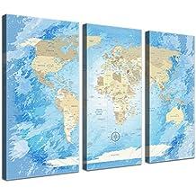 LanaKK Mapamundi con corcho para fijar los destinos - Mapa del mundo congelado, inglés, lámina sobre bastidor camilla en azul, enmarcado en tres partes de 150 x 100 cm
