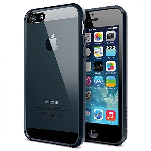 iPhone SE Hülle, Spigen® iPhone 5S/5/SE Hülle [Ultra Hybrid] Luftpolster-Technologie [Dunkelblau] Durchsichtige Rückschale und Transparent TPU-Bumper Schutzhülle für iPhone SE/5S/5 Case, iPhone SE/5S/5 Cover - Metal Slate (SGP10711) - Case Bumper Schwarz Iphone 5