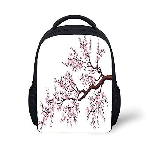 Kids School Backpack Japanese,Branch of a Flourishing Sakura Tree Flowers Cherry Blossoms Spring Theme Art,Pink Dark Brown Plain Bookbag Travel Daypack