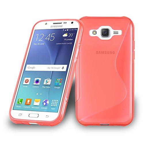 Preisvergleich Produktbild Cadorabo Hülle für Samsung Galaxy J7 2015 (5) - Hülle in Inferno ROT – Handyhülle aus flexiblem TPU Silikon im S-Line Design - Silikonhülle Schutzhülle Soft Back Cover Case Bumper