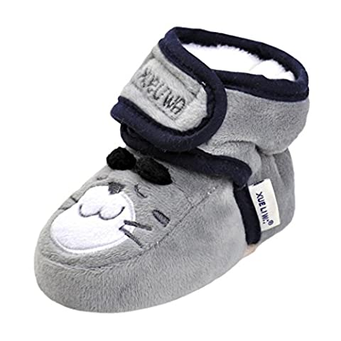 Chaussures Bébé ,Manadlian BéBé Garçons Filles Chaussures de Dessin Animé, pour 0-18 mois Bébé (L: 12 ~ 18 Mois, Gris)