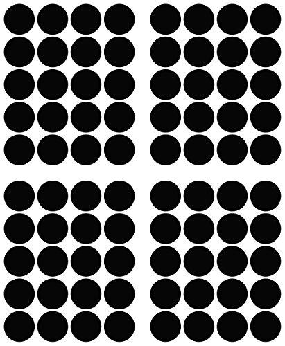 80adhesivos, 40mm, Negro, Funda de PVC, resistente a la intemperie, LabelOcean círculos puntos Pegatinas