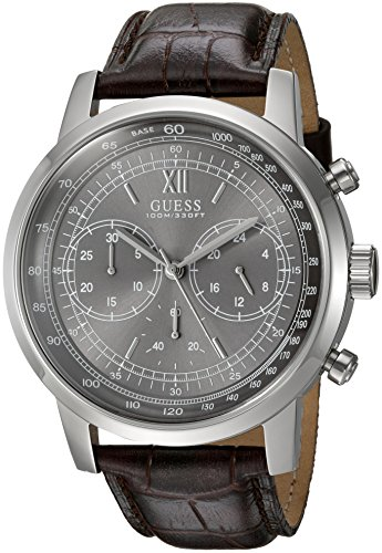GUESS Men's U0916G1 Sporty Silver-Tone Watch with  Grey Dial  and Genuine Leather Band