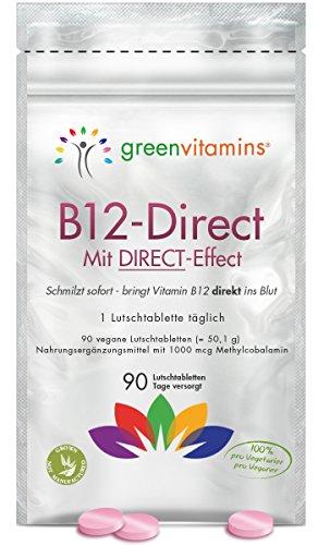 Vitamin B12 komplex, 90 Tabletten mit 1000mcg Methylcobalamin. Vegane Lutschtabletten mit Erdbeergeschmack für eine sublinguale Aufnahmen. B12-Direct von greenvitamins - 2