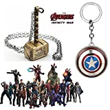 #8: 2 Pc AVENGER SET - THOR HAMMER - GOLD COLOUR METAL PENDANT & CAPTAIN AMERICA REVOLVING SHIELD IMPORTED METAL KEYCHAIN ❤ LATEST ARRIVALS - RINGS, KEYCHAINS, BRACELET & T SHIRT - CAPTAIN AMERICA - AVENGERS - MARVEL - SHIELD - IRONMAN - HULK - THOR - X MEN - DC - BATMAN - SUPERMAN - SPIDERMAN - DEADPOOL - FLASH - WONDER WOMAN - BLACK PANTHER - DOCTOR STRANGE - THANOS -STARLORD - GAMORA - DRAX - ROCKET - GROOT - MANTIS - WAR MACHINE - VISION - SUPER HERO ❤