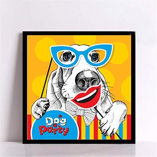 adgkitb canvas schöne Hund leinwand wohnkultur für Kinder Schlafzimmer schöne Hund für kinderzimmer Dekoration Lebewesen 50x50 cm kein Rahmen