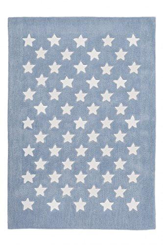 Kinderteppich dichtem Pastelblau Flor Handgefertigt Look Motiv Stern seidigem, Größe:120cm x 170cm