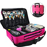 MLMSY Makeup Train Case 3 Layer Cosmetic Organizer Beauty Artist Storage Brush Box with Shoulder Strap, Red 16 inch