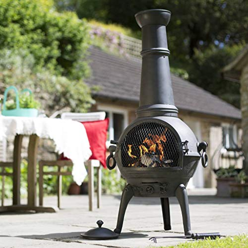 Black Lisbon 125cm Cast Iron Chiminea Chimenea Patio Heater