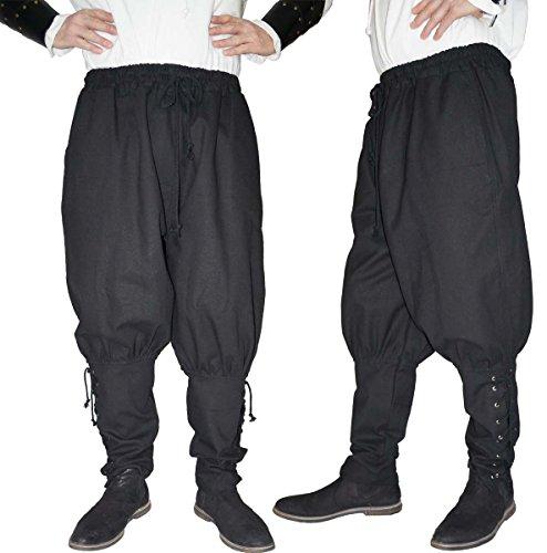 MAYLYNN Mittelalter Hose mit Taschen und Schnürung Wikinger Kelte, schwarz, Größe:M