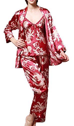 Jusfitsu Damen Klassische Spitze Seide Pyjama Set Sleepwear Homewear Schlafanzug 6 Farben Rot