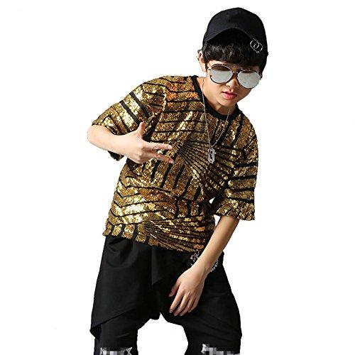 Wgwioo Sequins Hip Hop Jazz Tanz Kostüme Kinder Baumwolle Teen Jungen Mädchen Tragen Kinder Bühne Jugend Komfort Studenten Chor Cheerleading Team Sport , Boy , 120Cm