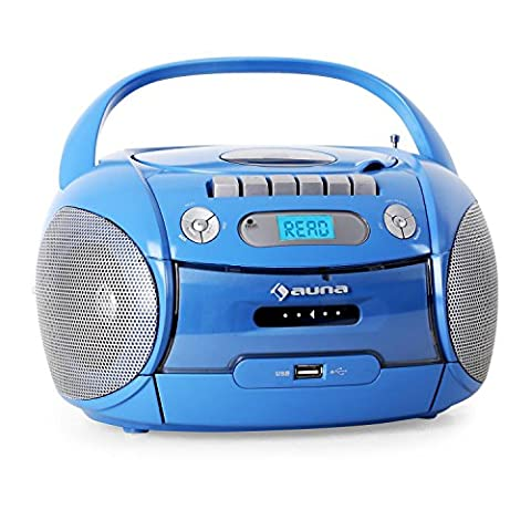 auna Boomboy Ghettoblaster Kassettenplayer (CD-Player, UKW-Radio, MP3-fähiger USB-Port, Netz-/Batteriebetrieb, transportabel)