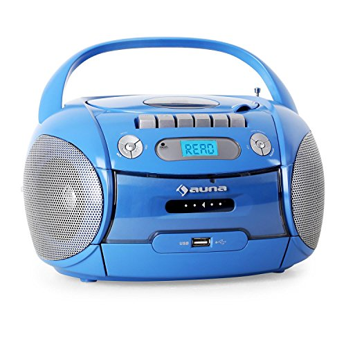 auna Boomboy Ghettoblaster Kassettenplayer (CD-Player, UKW-Radio, MP3-fähiger USB-Port, Netz-/Batteriebetrieb, transportabel) blau