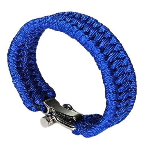 Dcolor 7 Corde 550 Bracelet PARACORDE Parachute Tressage Reglable Boucle Acier Survie bleu