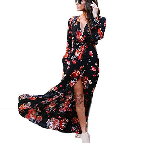 Yesmile Vestido de Mujer Vestido Largo Vestido de Estampado Vestido Elegante de Noche para Boda Vestido de la Playa de la Impresión Vestido Atractivo de la Manera de la Manga Larga (Negro, M)