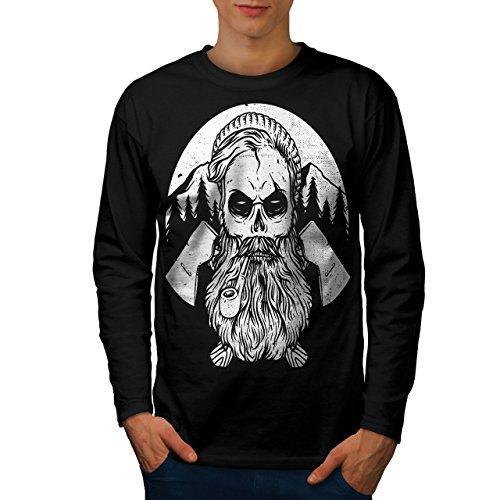 wellcoda Hipster Bauholz AXT Schädel Männer L Langarm T-Shirt