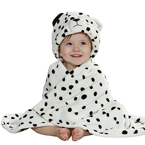 CHIC-CHIC Peignoir Sortie de Bain a Capuche Drap de Bain Bébé Mignon Animal Déguisement Noël Cosplay Cartoon Anniversaire Cadeau 0-4ans Blanc léopard