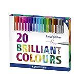 Staedtler 334 C20 triplus Fineliner Set mit 20 sortierten Farben Ergonomische Dreikantform, Schreiben, Malen und Zeichnen