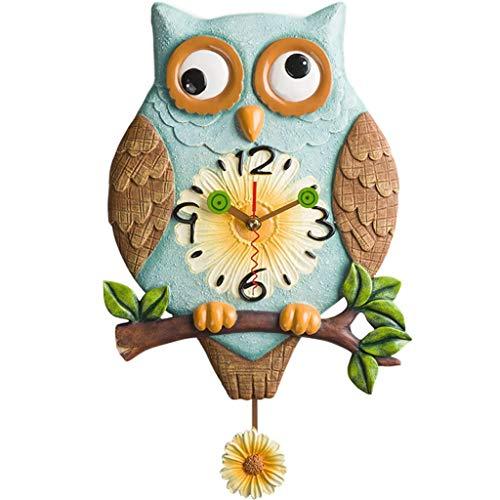 Orologio da parete soggiorno creativo orologio da parete camera da letto continental pastorale orologio muto decorazione grande gufo 24 * 42 cm
