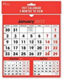 2017 3 Month to View Wall Planner Calendar Month to View Spiral Home Office Work School College Factory Commercial